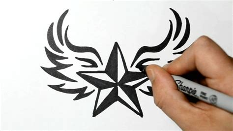draw  nautical star  wings tribal style youtube