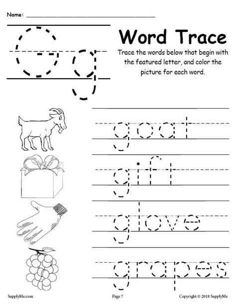 letter g words free alphabet tracing worksheet supplyme
