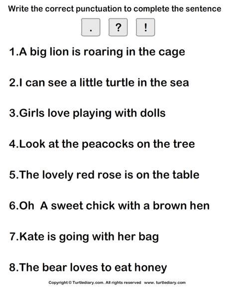 putting correct punctuation mark worksheet turtle diary