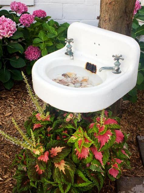 create  birdbath   salvaged sink hgtv