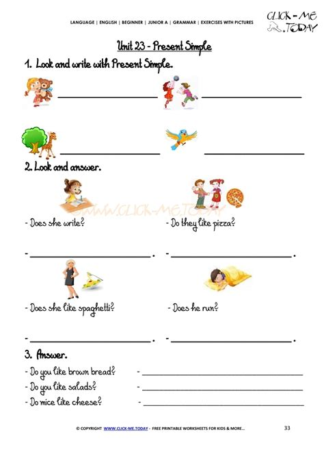 grammar exercises with pictures present simple 1