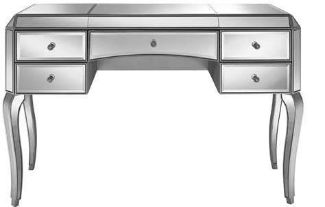 silver desk with drawers metallic silver 5 drawer mirrored desk from pulaski ds