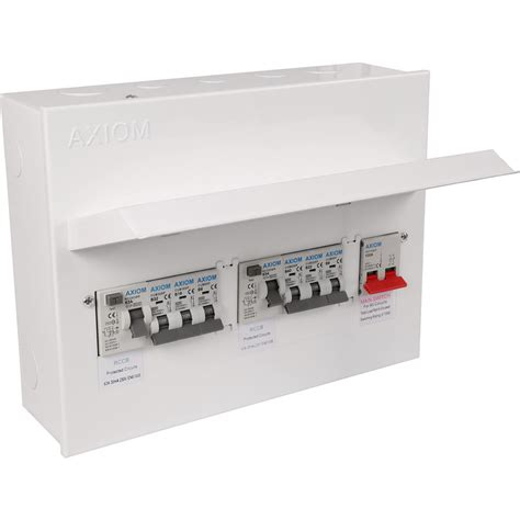axiom metal 17th edition amendment 3 dual rcd 6 mcbs consumer unit 8 way