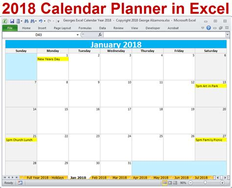 excel 2018 yearly calendar 2018 excel calendar year template printable monthly