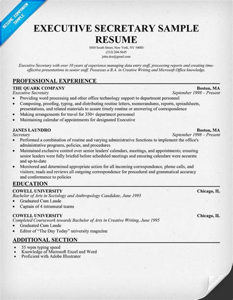 Executive Receptionist Resume by Pin Receptionist Resume Exle 187 On