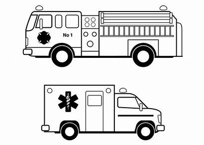 Emergency Coloring Services Pages Vehicles Printable Ambulance
