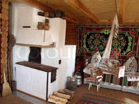 Interior in the ancient house, the typical Ukrainian