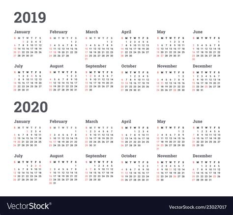 calendar year wee royalty vector image