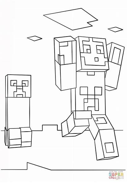 Minecraft Creeper Coloring Steve Pages Printable Drawing