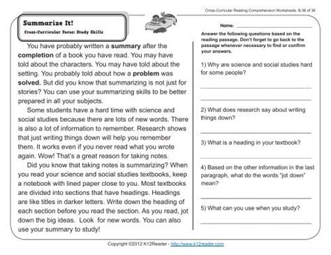 read  paragraph  answer  questions  grade