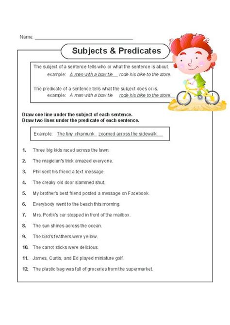 Subject Verb Worksheets First Grade Subject Best Free Printable Worksheets