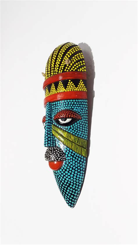 teracotta multicolored african tribal style man face mask
