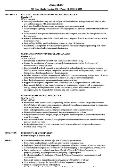 compensation program manager resume samples velvet jobs