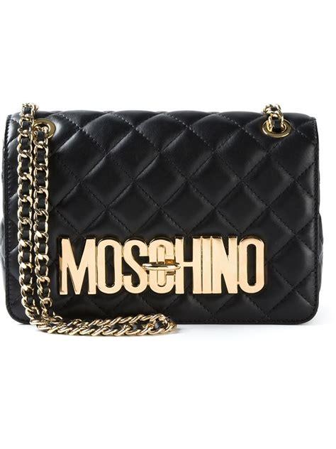 lyst moschino quilted sheepskin shoulder bag  black