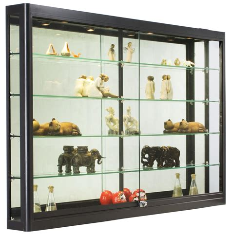 wall retail showcase with lights black aluminum