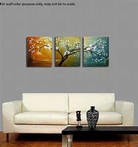 wieco art quotfull blossomquot extra large modern 3 panels With best brand of paint for kitchen cabinets with extra large framed wall art
