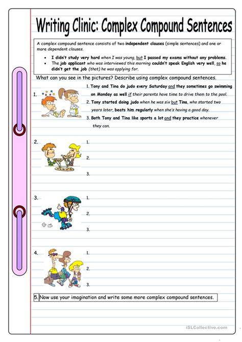writing clinic complex compound sentences worksheet
