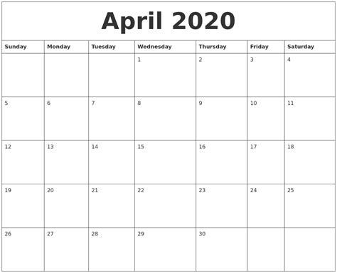 april calendar month