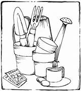 Gardening Tools Coloring Garden Pages Printable Drawing Colouring Adult Sheets Items Rocks Pots Kitchen Adults Books Therapy Stamps Drawings Outline sketch template