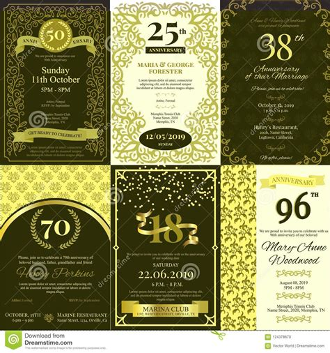 Anniversary Invitation Vector Card Inviting To Birthday