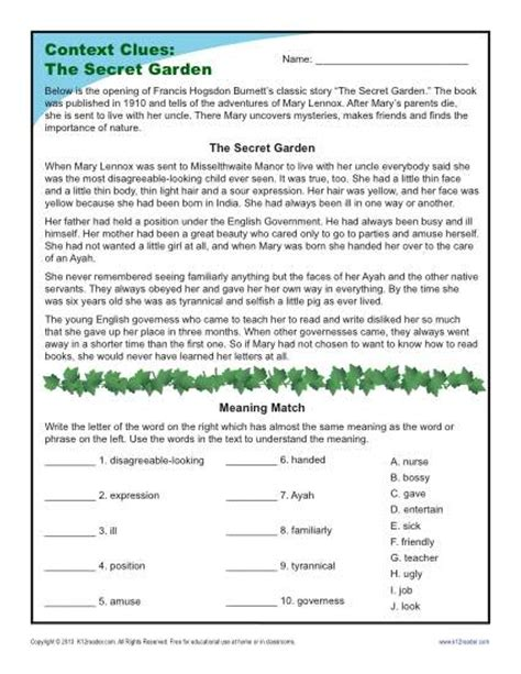 the secret garden context clues worksheets for 4th and
