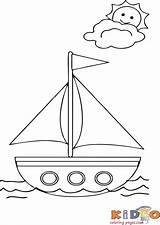 Coloring Boat Kidocoloringpages Boats Sheets Sail Worksheets sketch template