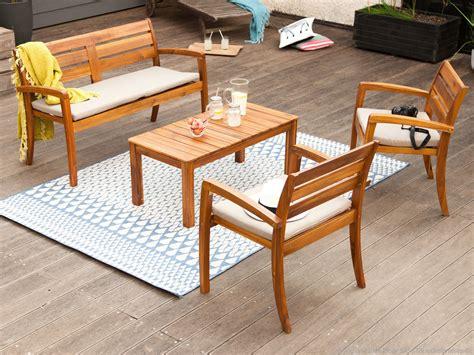 salon de jardin 4 places en acacia 1 table basse 1