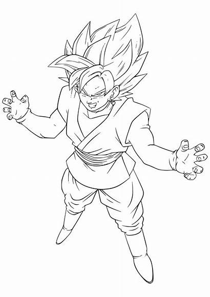 Goku Coloring Dragon Ball Pages Super Pink