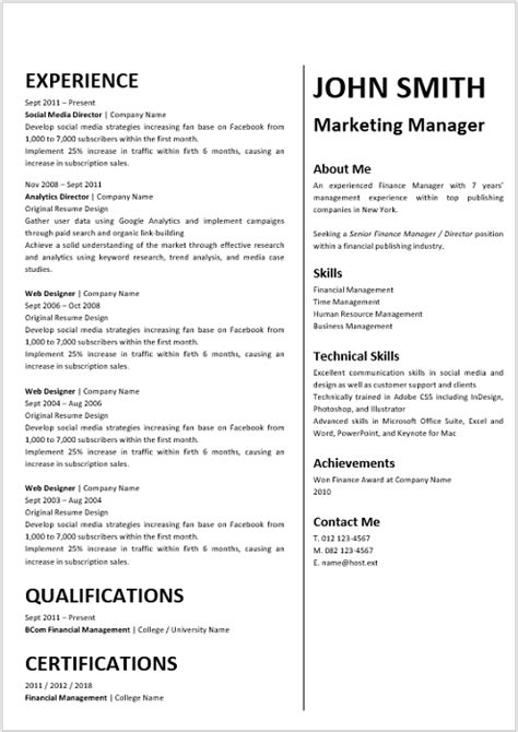 Marketing Cv by Marketing Manager Curriculum Vitae Professional Cv Zone