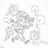 Detective Coloring Outline Loupe Cartoon Adventure Photographic Child Equipment Camera sketch template