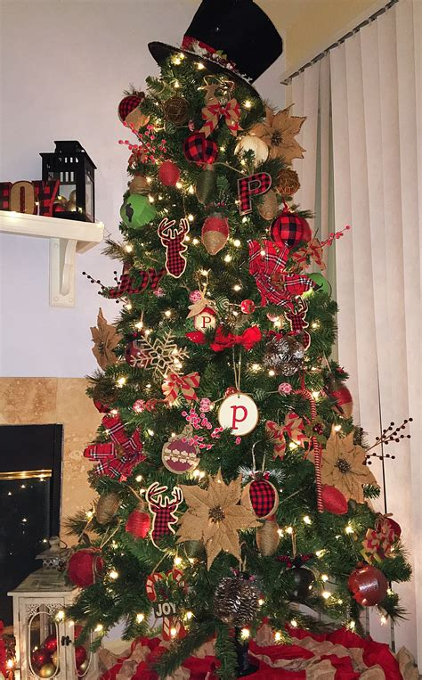 rustic  buffalo plaid christmas tree christmas