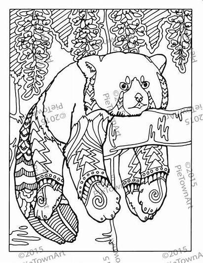 Panda Coloring Easter Kawaii Template