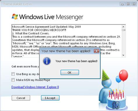 windows live messenger 10th anniversary pack windows