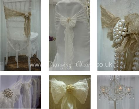 modern vintage wedding with lace chair covers sashes