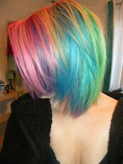 Short Rainbow Hair ♡ Pastel Hair Pinterest Short