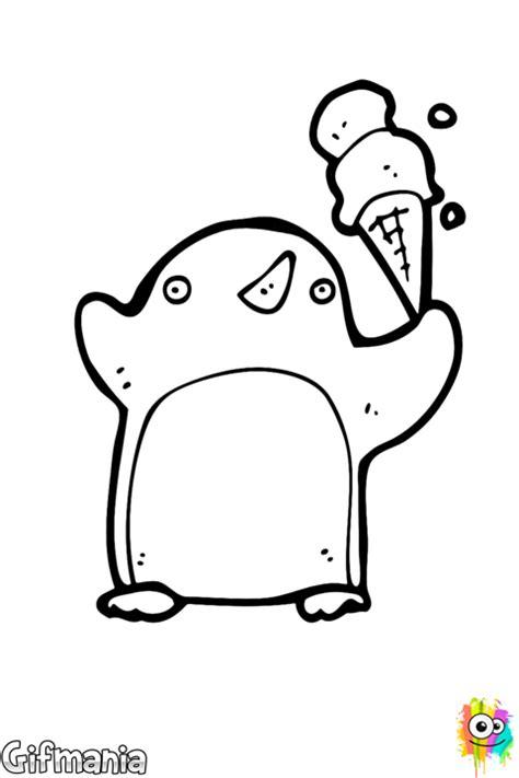 Kleurplaat Pinguin Met Ijsje by Pinguin Met Een Ijsje Kleurplaat