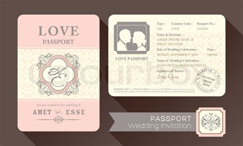 vintage visa passport wedding stock vector colourbox