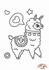 Llama Kawaii Coloring Blogx Info sketch template