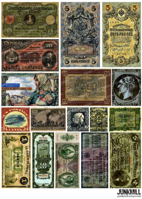 currency digital printable collage sheet  money