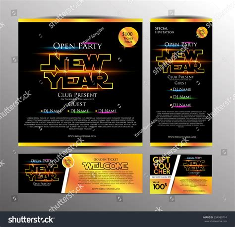 year party invitation card golden stock vector