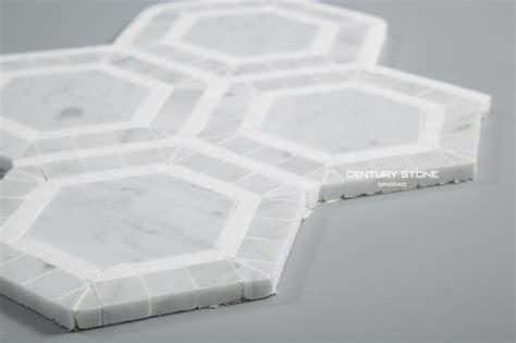 Carrara Marble Hex Tile Floors by Carrara And White Thassos Marble Hexagon Mosaic Bathroom