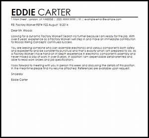Factory worker cover letter sample livecareer for Cover letter for factory work