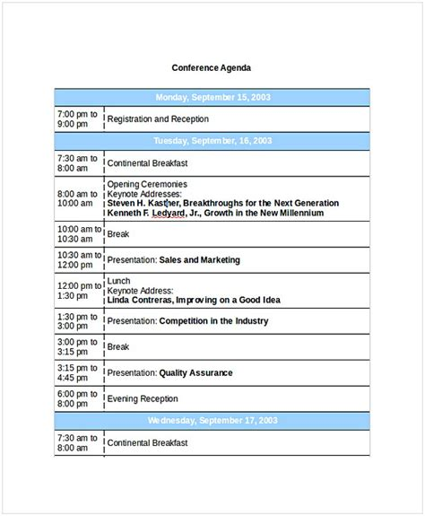 conference agenda template cycling studio