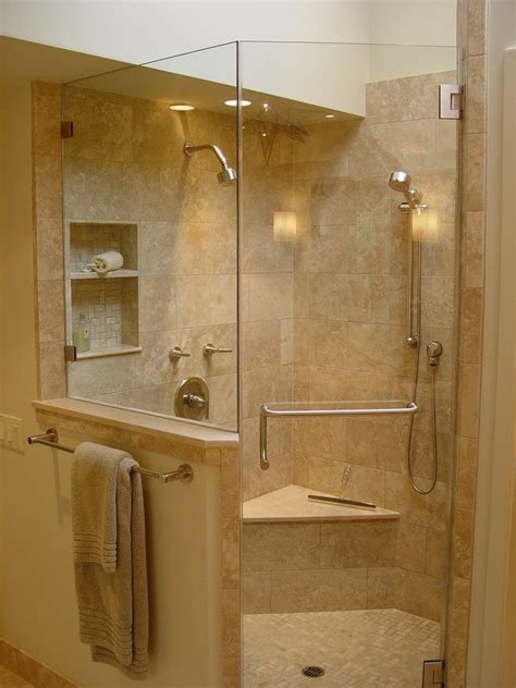 outstanding corner bathtub shower  wall sconce beige