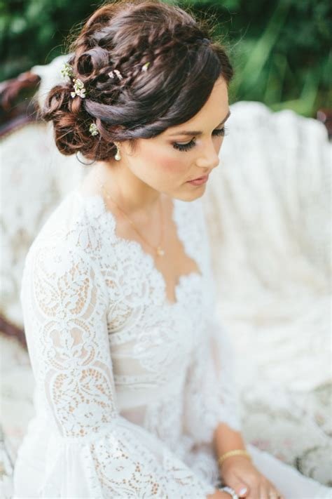 wedding updo hair ideas dipped  lace