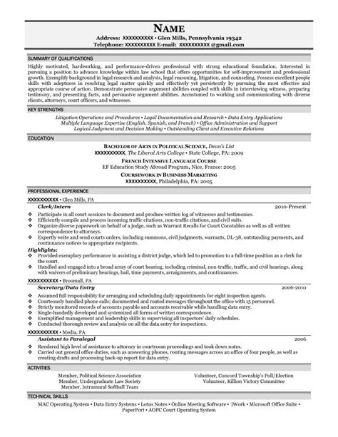 Political Science Major Resume Objective by 28 Political Science Resume Student Resume Sles Resume