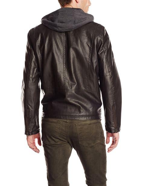 mc leather jacket levi 39 s men 39 s faux leather hooded motorcycle jacket ebay