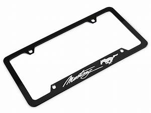 Ford Mustang License Plate Frame - Silver Pony w/ Silver Mustang Script FOD6-UF (79-17 All ...