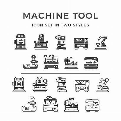 Vector Machine Lathe Icons Tool Illustration Clip