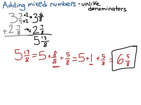 worksheet adding mixed numbers with unlike denominators